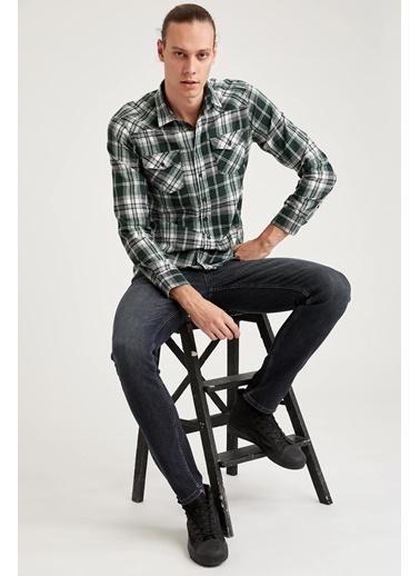 DeFacto Ekose Slim Fit Uzun Kollu Oduncu Gömlek Yeşil